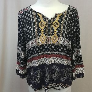 Skies Are Blue BoHo Print Embroider 3/4 Sleeve top